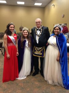 MSDJDC Valerie, GBHQ Alesha, and MSDJD Teagan during their visit to the 2015 Grand Lodge.